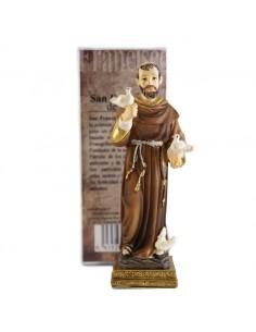 San Francisco de Asis. Realizado en resina. Medida: 11 cm de altura. Viste tunica marrón y porta un rosario atado al cinturo