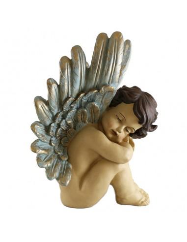 Imagen de Ángel dormido en marmolina policromada.  Dimensiones: 30 cm.
