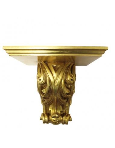 Repisa de madera terminada en pan de oro. Dimensiones: 35 alto x35 ancho x 27 fondo cm