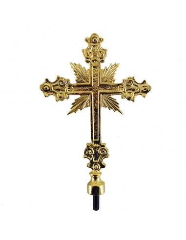 Baculo Cetro con varal liso Medida cruz: 20 cm de largo x 13 cm de ancho Medida varal: 150 cm de largo (desmontable a la mita