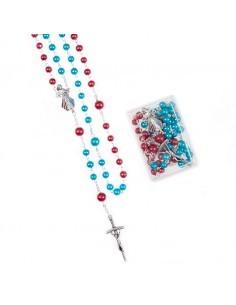 Rosario bicolor (azul y rojo) con imagen de Jesus Misericordioso en cajita. Medida: 48 cm de largo  Medida cuentas: 0.5 cm