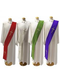 Estola diacono con bordado de cruz, tejido poliester disponible en todos los colores litúgicos.  Disponible en los cuatro col