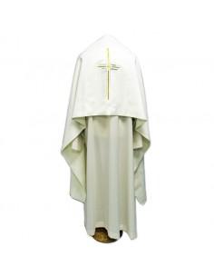Paño de hombros blanco con cruz bordada