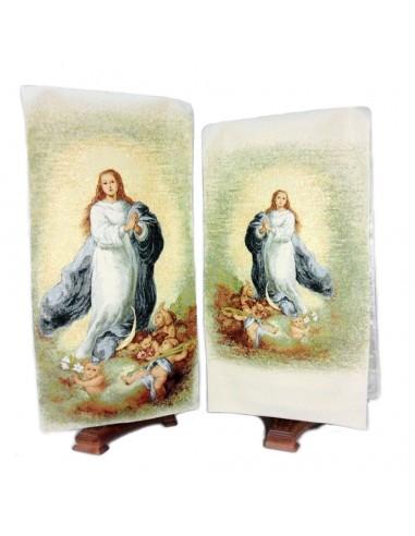 Paño Ambon Inmaculada de Murillo de tela. en la  parte posterior lleva la misma imagen en pequeña.  Dimensiones: 2,42 m  larg