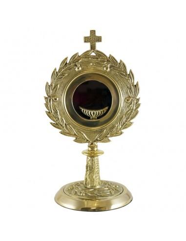 Curstodia metal dorada, 27 cm.  Porta viril de 8,5 cm.