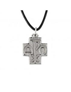 Cruz de metal con las iniciales alfa y omega. Dimensiones: 2 cm