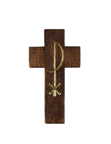 Cruz madera 4,50 cm con cordón.
