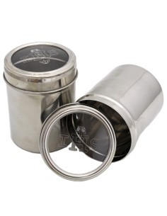 Caja para formas de acero inoxidable. Tapa transparente con simbología IHS.  Capacidad para 100 formas.  Dimensiones: 9,5 x