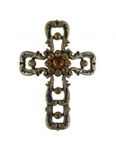 Pin para vela cruz piedras ambar. 7 cm.