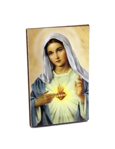 Cuadrito Sagrado Corazon de Maria en madera
