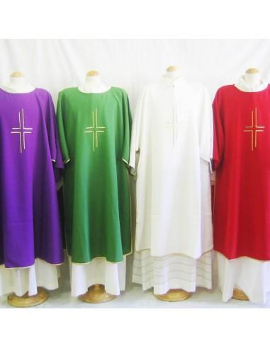 Dalmatica Poliester Disponible en los 4 colores: Blanco, Morado, Rojo y Verde