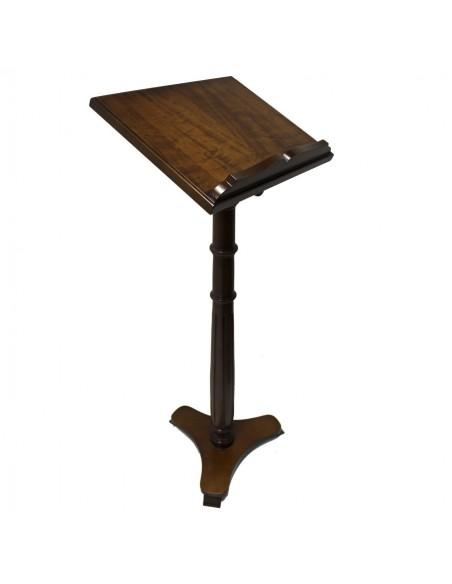 Atril de madera en acabado liso.  Altura: 126 cm. Posalibro: 35 x 46 cm.