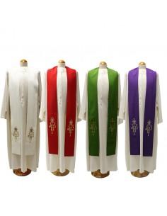 Estola con bordado JHS en dorado tejido poliester disponible en todos los colores litúrgicos.  Disponible en los cuatro color
