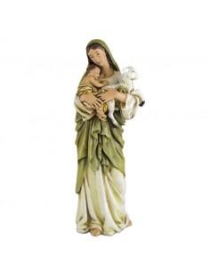 Imagen religiosa de la Virgen María. Esta figura muestra a nuestra señora con una túnica blanca y velo verde. En sus brazos so