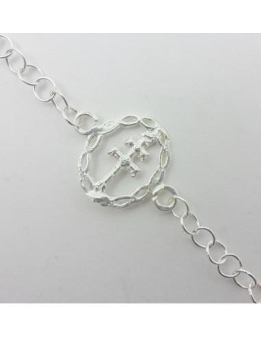 Pulsera caravaca plata de ley. Medidas:  medalla: 2 cm Cadena : 19 cm