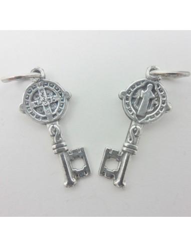 Medalla llave San Benito, plata de ley, 2,5 cm
