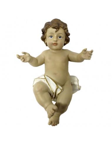 Imagen del niño Jesús con los brazos abiertos. Usa un pañal blanco con lineas doradas. Pelo castaño y ojos azules La imagen es