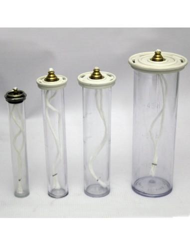 Cartucho metacrilato para simil vela.  Disponible en diferentes medidas y diámetros.  Ø 2.5 cm parte superior x 13 cm altura