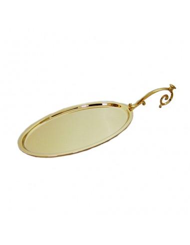 Bandeja de comunión dorada con asa clásica. Dimensiones: 23x14 cm