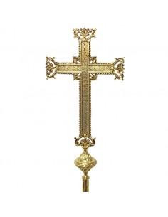 Cruz parroquial de bronce sin Cristo Medida: 52 cm de alto x 28 cm de ancho Medida total: 209 cm