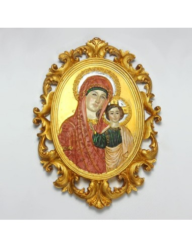 Icono Virgen con Niño Dorado