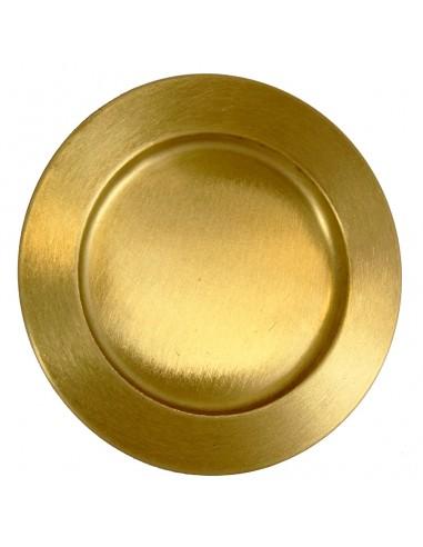 Patena dorada lisa Diametro interior: 12 cm Diametro total: 17.50 cm  Recomendado para formas desde 7 a  8.50 cm