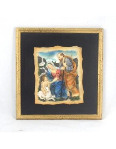 Cuadro de relieve imagen Sagrada Familia en resina 28 cm.