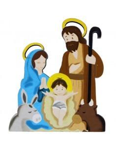 Imán con imagen del nacimiento de Jesús en dibujo.