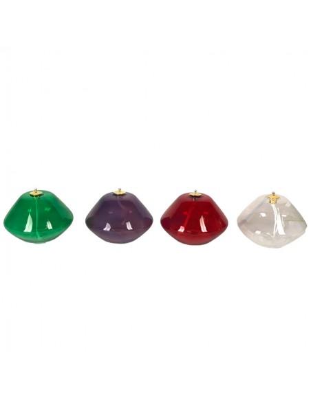 Lámpara de cristal. Disponible en diferentes colores. Dimensiones: 10 cm x 7 cm.  Muy apropiado para utilizar en adviento.