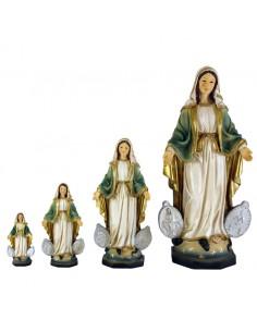 Virgen Milagrosa con medalla incrustada. Realizada en resina. Distintas medidas disponibles: 8 x 4 cm  13 x 5´5 cm 20 x 9