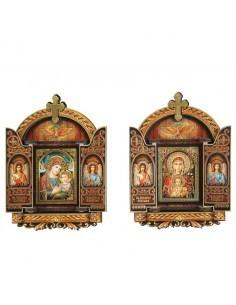 Icono surtido de la Virgen.  Imitación o simil triptico estilo gótico rematado con una cruz.
