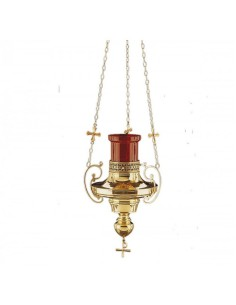 Lampara del Santisimo de colgar electrificada latón su color.  Medidas: 71 cm de longitd x 27 cm de ancho Diametro para vaso
