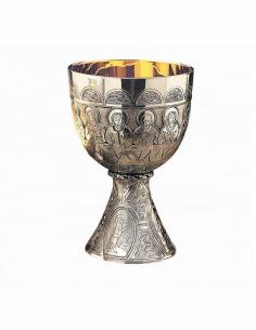 Cáliz grabado apostoles 17 cm altura 11.5 cm Ø copa. Copa superior PLATA DE LEY.