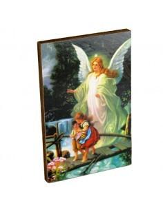 Cuadrito de madera con la imagen del Angel de la Guarda