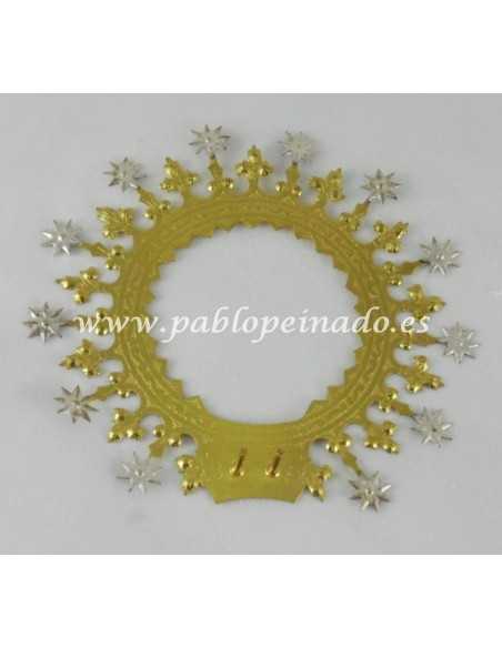 Aureola metal para Virgen extra.  Disponible en diferentes medidas.  La medida corresponde al diámentro de la aureola.