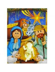 Niño jesús fluorescente en tarjeta de Navidad