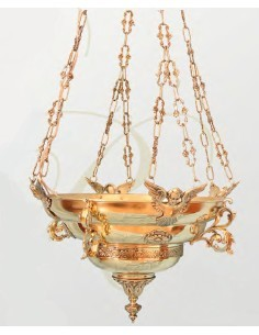 Lampara santísimo bronce 60 cm Ø.  Disponible en su color dorado.  El soporte de pared no está incluido en el precio.  Se
