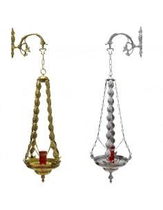 Lámpara Santisimo Gallones bronce. 4 cadenas Altura total con cadenas: 110 cm Diámetro de la lámpara: 35 cm  Altura de lámp
