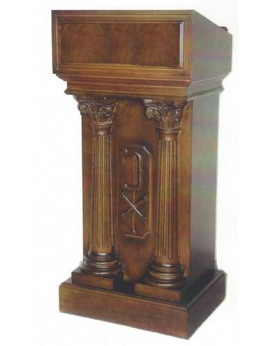 Medidas: 125 x 55 x 43 cm  Ambon madera con dos columnas acabado nogal