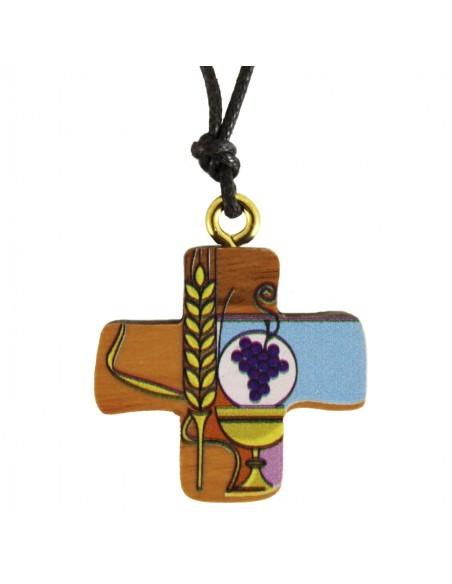 Cruz madera para Comunión. la cruz mide 3 cm. y está decorada por una ilustración en la que aparecen el cáliz con el cuerpo de
