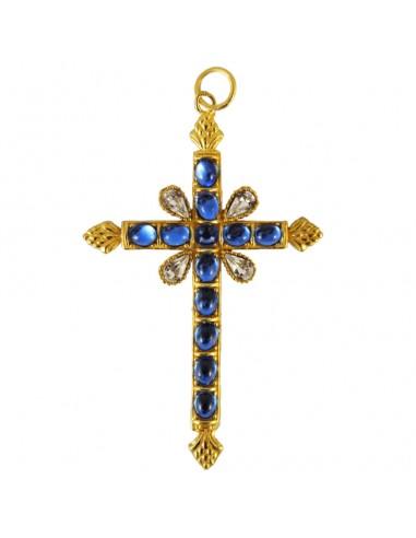 Cruz pectoral en dorado con piedra de color