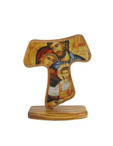Cruz Tau son imagen de la Sagrada Familia. Tiene soporte. Serigrafiado. Madera.