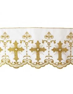 Puntilla en color blanco con cruz bordada en dorado  ANCHO 15 cm Precio del metro