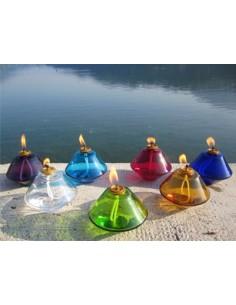 Lámparas de cristal para cera líquida. Disponible en diferentes colores.   Dimensiontes: Ø 11 cm x alto 9 cm