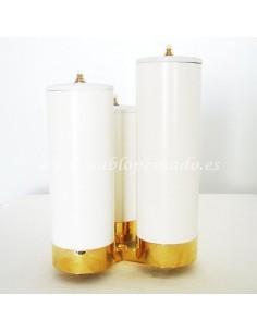 Candelabro de tres simil velas. Ø6x20,22,25
