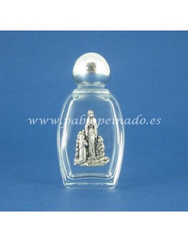 Botellita de 6.5 cm para agua vendita con imágen de la virgen de Lourdes en metal