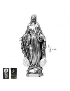 Virgen Milagrosa resina terminación plateado 21 cm.