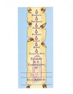 Lamina de confirmación con los 7 Dones del Espíritu Santo.