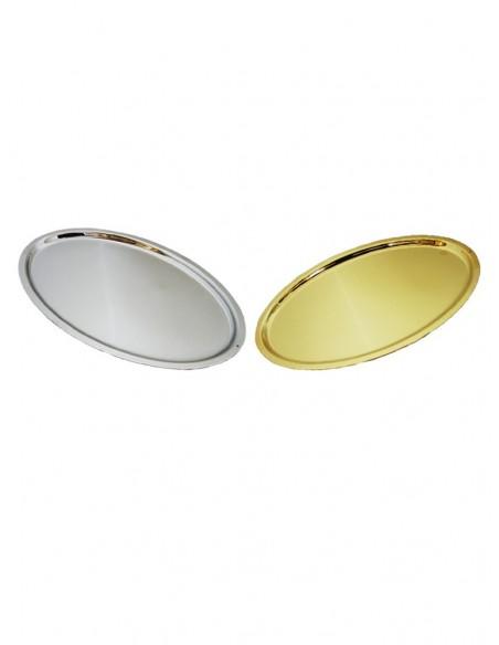 Bandeja de comunión en acabados dorado y plateado.  Dimensiones: 23 x 14 cm.