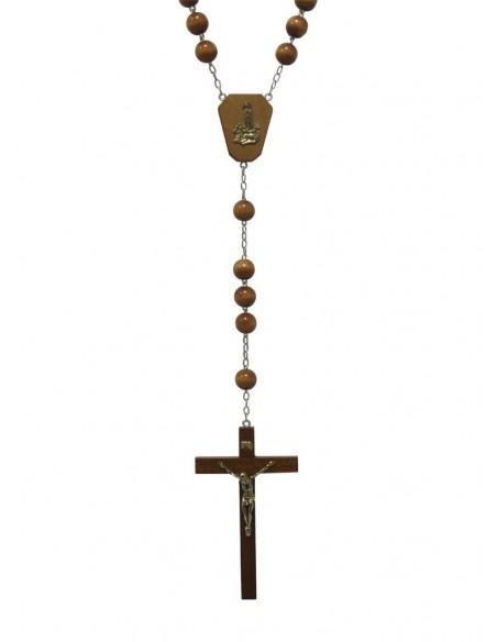 Rosario de pared de madera de la Virgen de Fátima con crucifijo con Cristo de metal. Cuentas grandes de 2 cm de diámetro. Cru